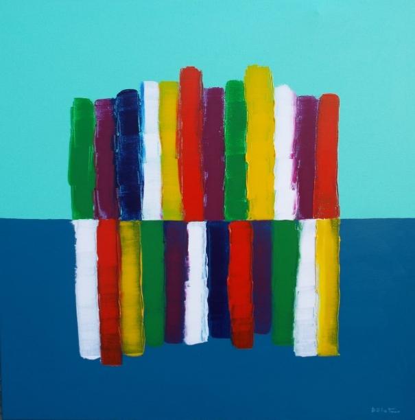 bleu vert - acrylic on canvas 100X100 cm